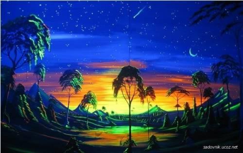 флуоресцентные светящиеся краски в интерьере